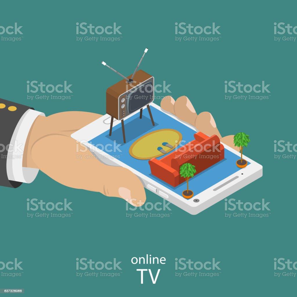 Online TV flat isometric vector concept. Lizenzfreies online tv flat isometric vector concept stock vektor art und mehr bilder von alt
