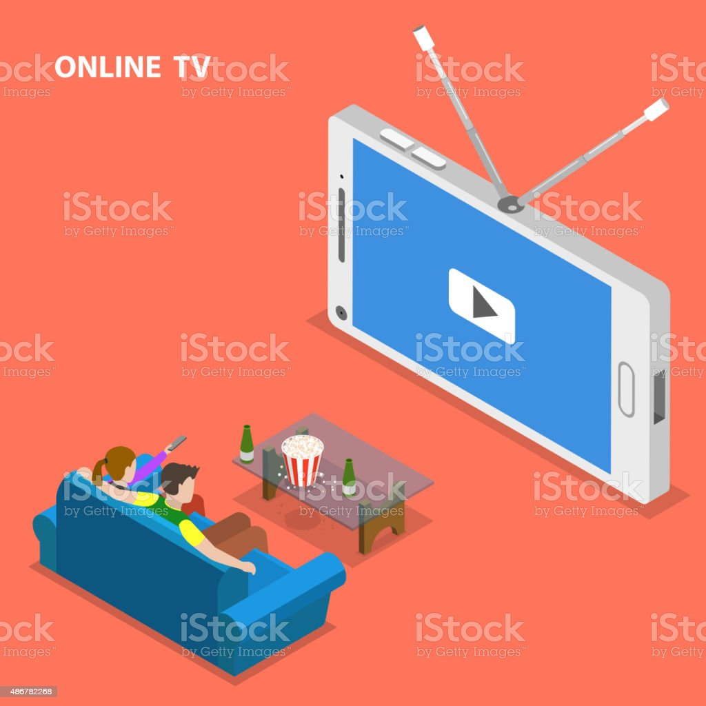 Online TV isometric flat vector illustration. vector art illustration