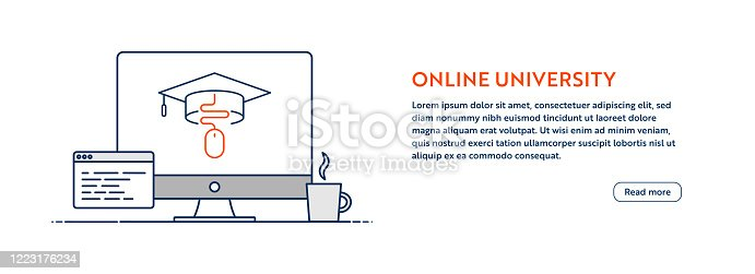 istock Online University Concept with Line Computer Illustration with Editable Stroke. 1223176234
