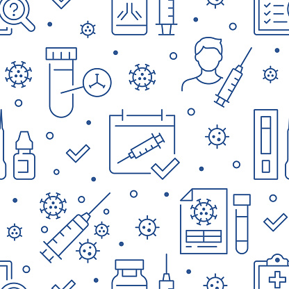 Online Vaccine seamless pattern. Vector background included line icons as rapid test kit, medical syringe, injection bottle, research outline pictogram for covid diagnostic