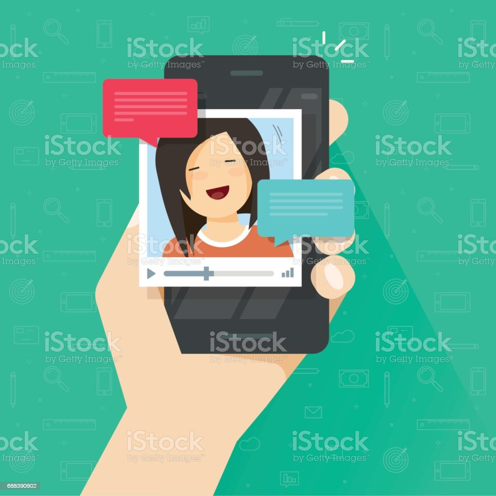 Online Video Call On Smartphone Vector Flat Cartoon Mobile