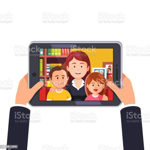 Online video conference call with mother and two kids hands holding vector id1018810890?b=1&k=6&m=1018810890&s=612x612&h=jmymidev2kp lalksa5uzirjblhdmrhtquqf06rkfva=