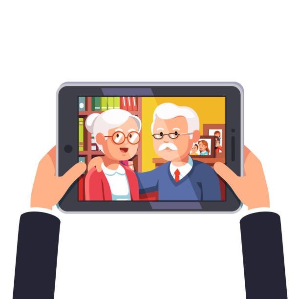 online video conference call with old parents or grandparents. hands holding tablet computer. flat style vector - old man photo pictures stock illustrations, clip art, cartoons, & icons