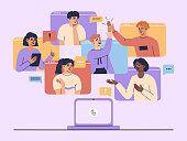 Online video conference landing page concept, colleague team chatting at laptop, group of men and women have meeting call and discussion, working from home. Vector illustration in flat cartoon style.
