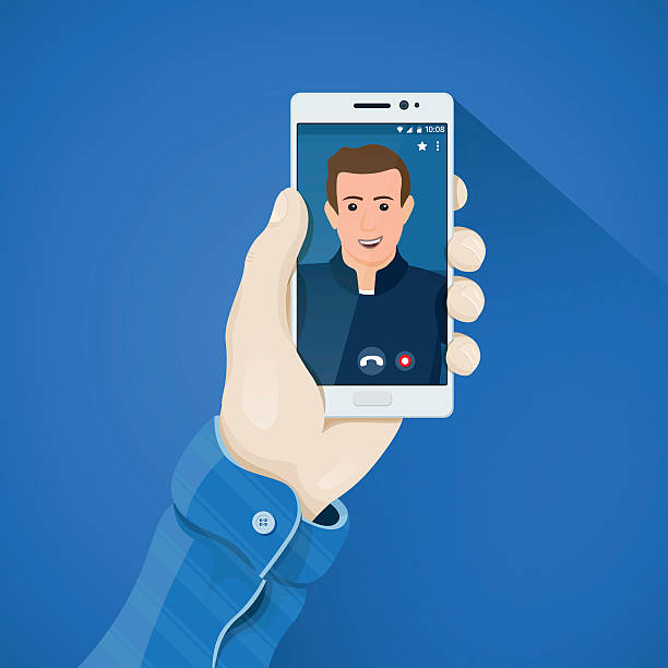 Online video conferencing. Phone in hand vector illustration vector art illustration