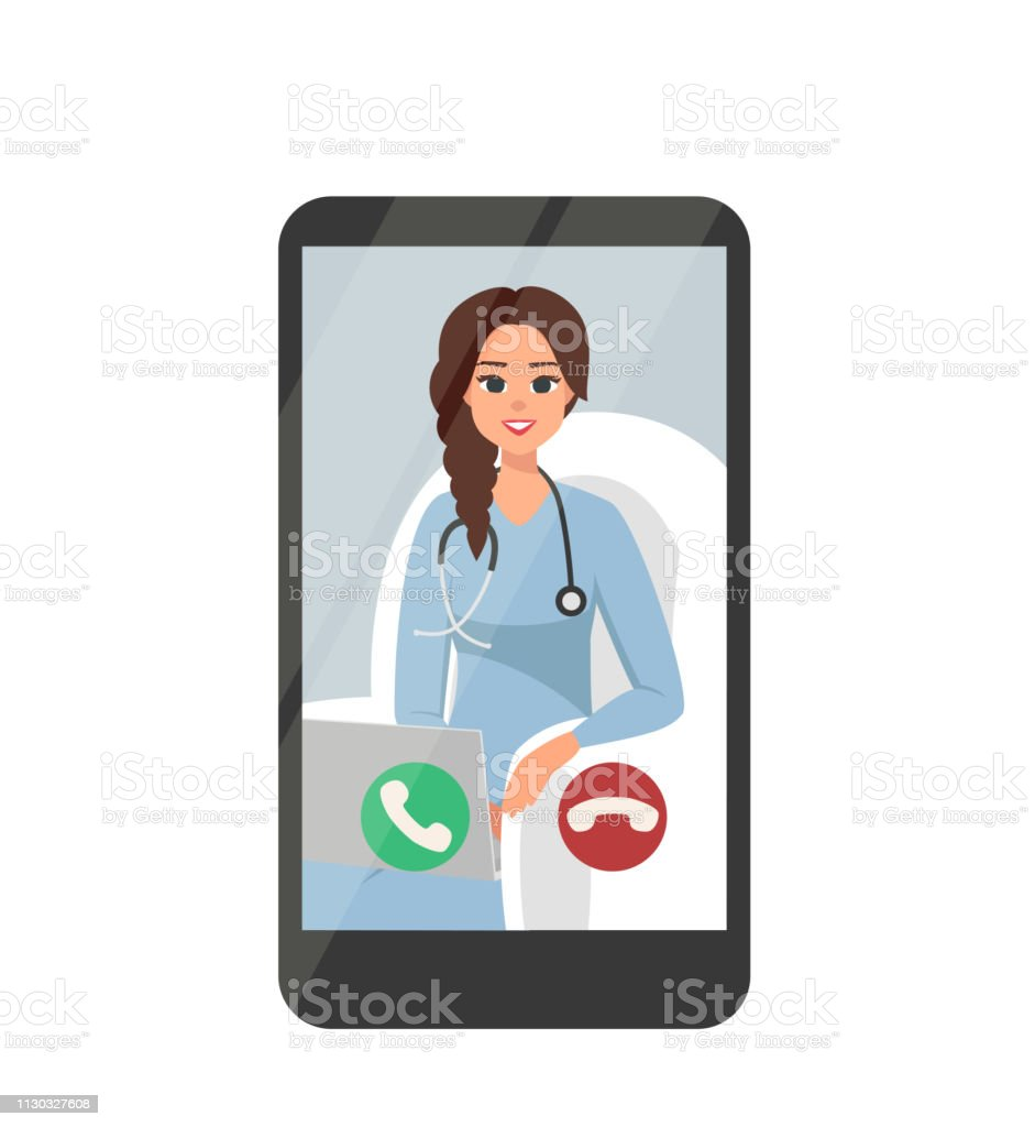 Online Video Conferencing With Happy Female Doctor On Smartphone - Royalty-free A usar um telefone arte vetorial