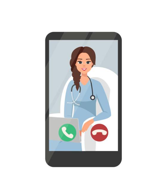 ilustraciones, imágenes clip art, dibujos animados e iconos de stock de videoconferencia en línea con feliz mujer doctor en el teléfono inteligente - telehealth