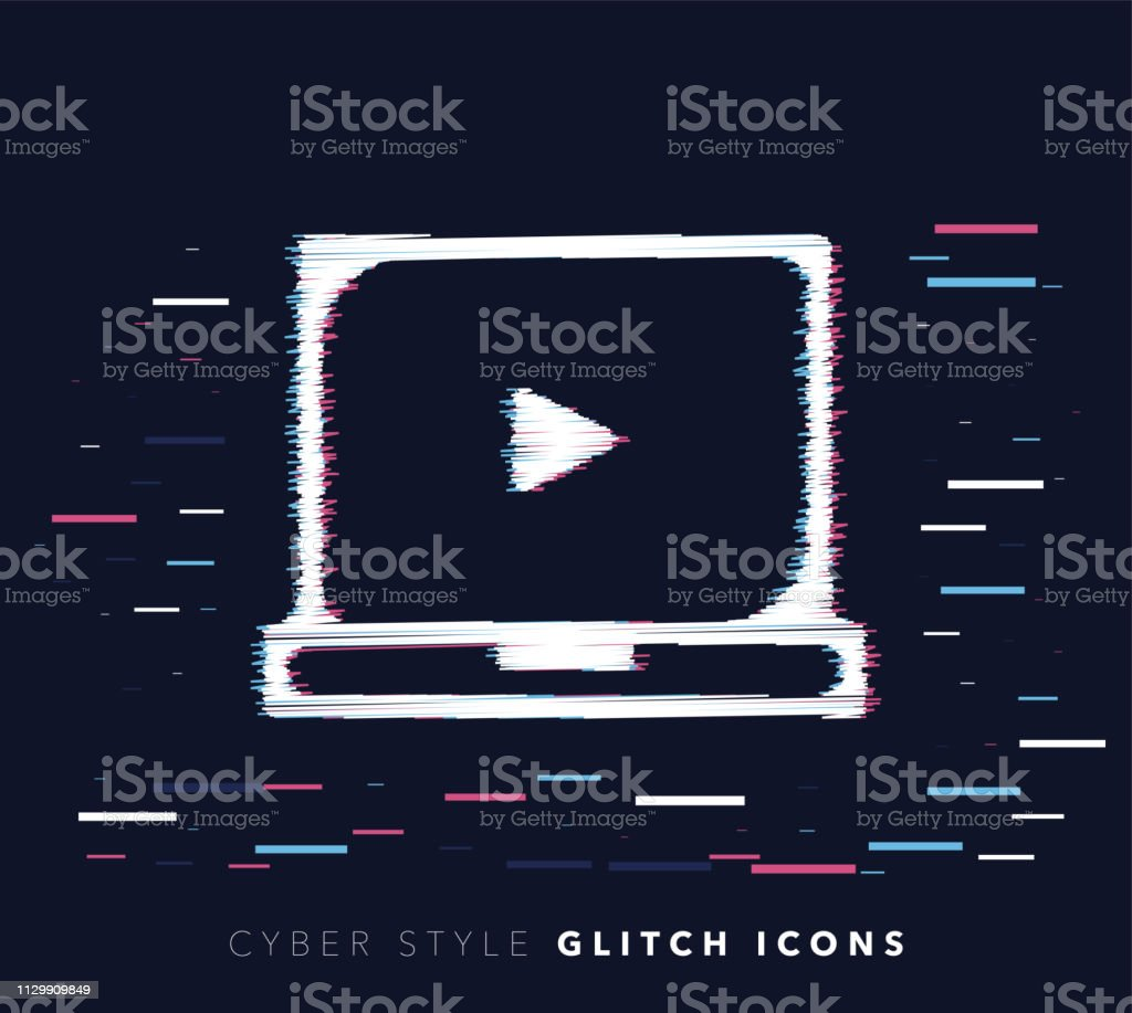 Online Video Courses Glitch Effect Vector Icon Illustration Stock