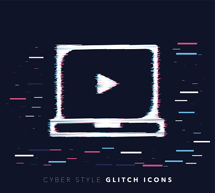 Online Video Courses Glitch Effect Vector Icon Illustration