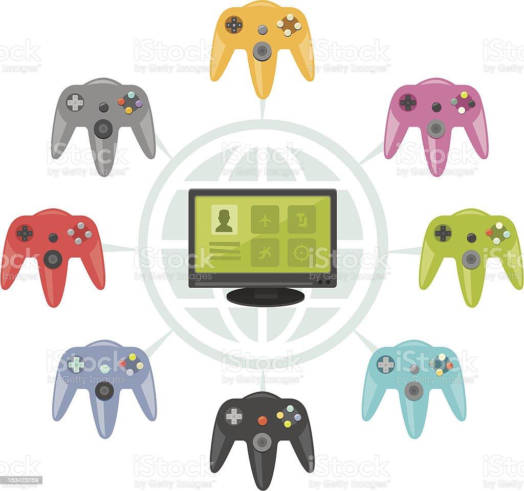 Online video games vector art illustration
