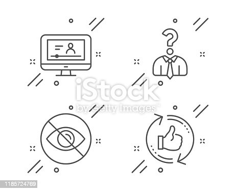 istock Online video, Hiring employees and Not looking icons set. Refresh like sign. Vector 1185724769