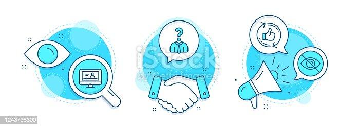 istock Online video, Hiring employees and Not looking icons set. Refresh like sign. Vector 1243798300