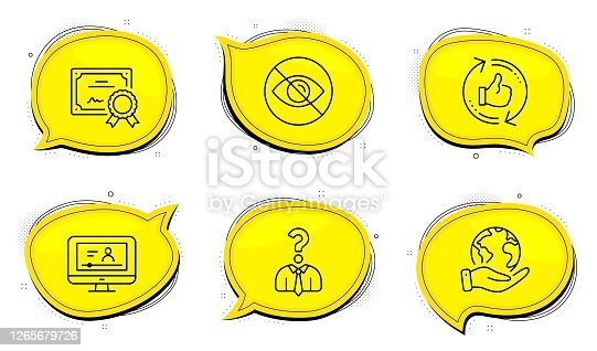 istock Online video, Hiring employees and Not looking icons set. Refresh like sign. Vector 1265679726
