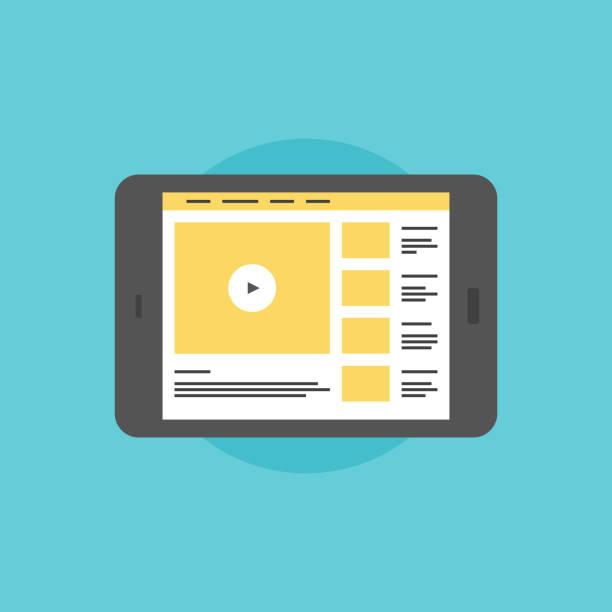 Online video on digital tablet flat icon illustration vector art illustration