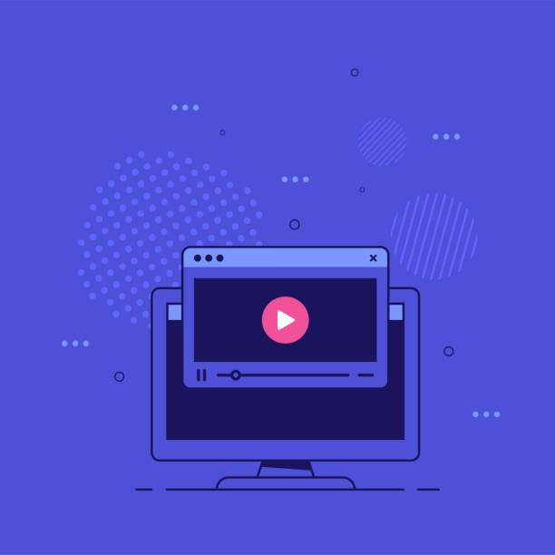 stockillustraties, clipart, cartoons en iconen met online videospelerconceptbanner, vlakke stijlvector - youtube