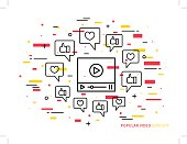Online video player line vector illustration. Like, heart, dialogue box, media technology creative concept. Internet web video graphic design.
