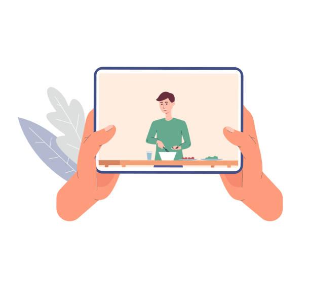 online-video-tutorial mit kochrezepten eine vektor-flach-einzel-illustration - tablet mit displayinhalt stock-grafiken, -clipart, -cartoons und -symbole