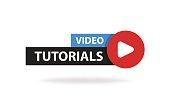 Online video tutorials education button. Play lesson concept. Vector illustration.