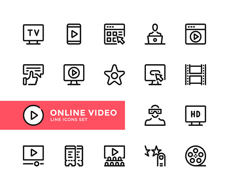 Online video vector line icons. Simple set of outline symbols, linear stroke graphic design elements. Online video icons set. Pixel Perfect