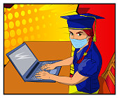 Online Virtual Graduation. Girls wearing face mask and graduation cap, video conference with laptop. College University or High School Graduation ceremony from home.