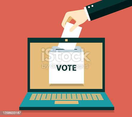 Online vote concept. Ballot box on monitor screen. Electronic referendum or election background. Hand holding paper ballot page. stock illustration