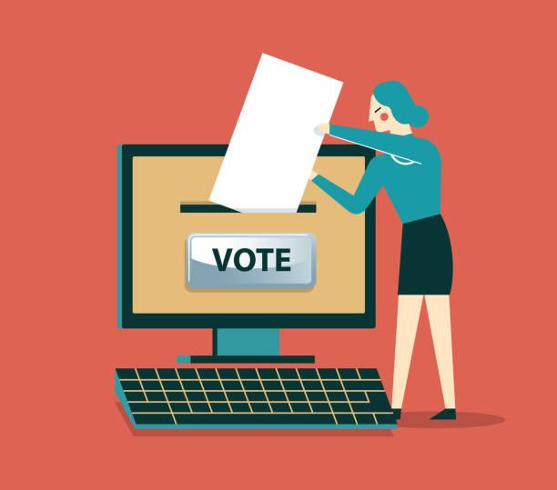 Online-Voting - Geschäftsfrau – Vektorgrafik