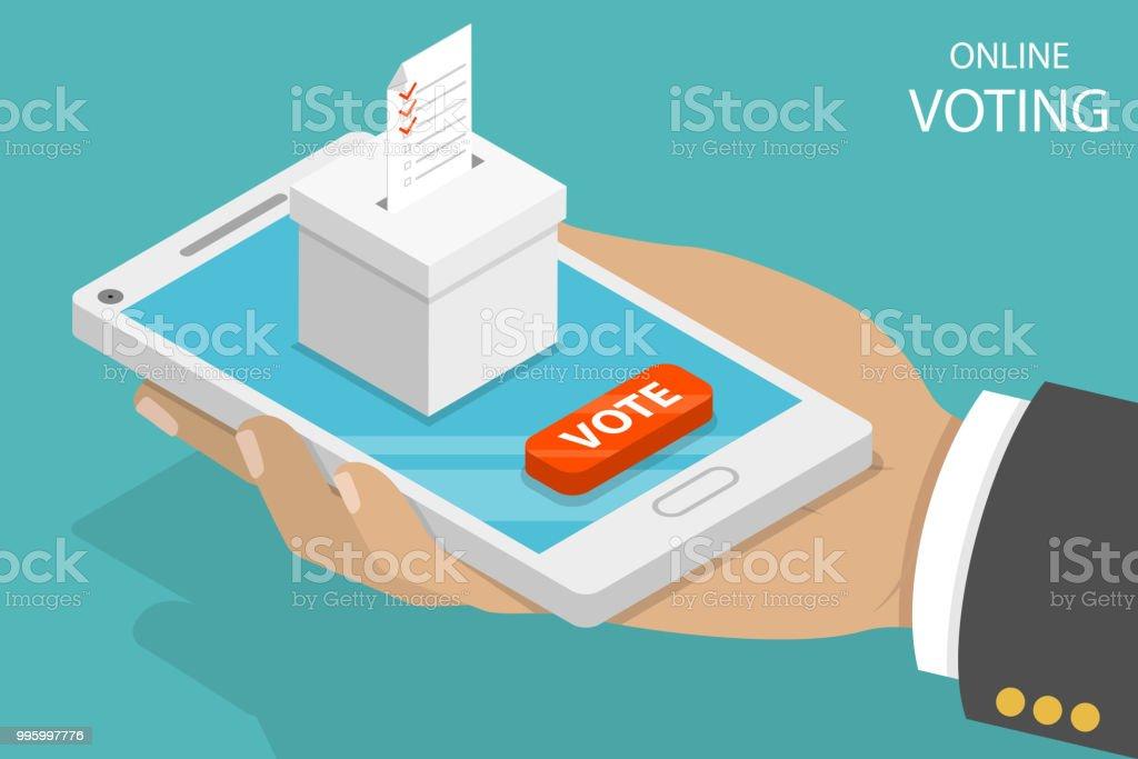 Online-voting flach isometrische Vektor-Konzept. – Vektorgrafik