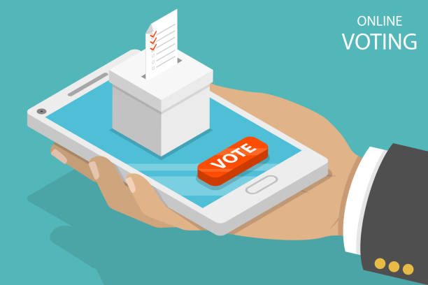 Online voting flat isometric vector concept. Flat isometric vector concept voting online, e-voting, election internet system. voting stock illustrations