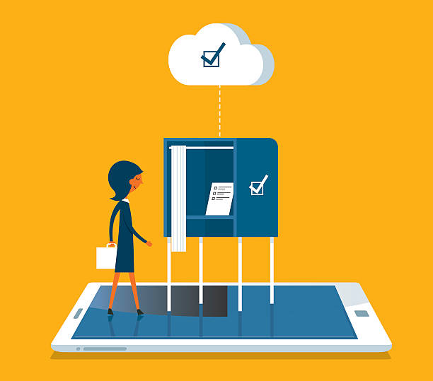 ilustraciones, imágenes clip art, dibujos animados e iconos de stock de en línea de la votación - polling place