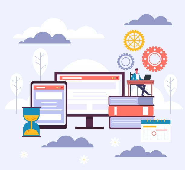Online web education learning concept. Vector flat graphic design cartoon illustration vector art illustration