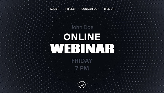 Online webinar landing page template. Black minimal dotted background for business conference announcement