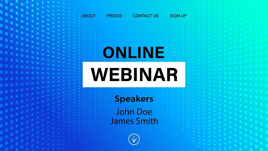 Online webinar landing page template. Vector banner mock up for business conference announcement