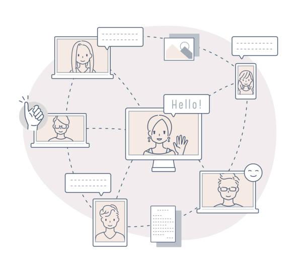 オンラインワーク/クラス - 大学生 パソコン 日本点のイラスト素材/クリップアート素材/マンガ素材/アイコン素材