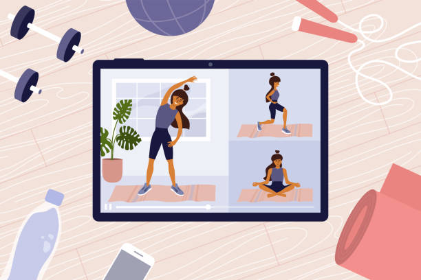 Online workout classes on digital tablet with young woman on screen doing exercises – artystyczna grafika wektorowa