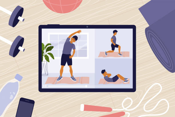 stockillustraties, clipart, cartoons en iconen met online training klassen op tablet met de mens op het scherm doet oefeningen - buigen lichaamsbeweging