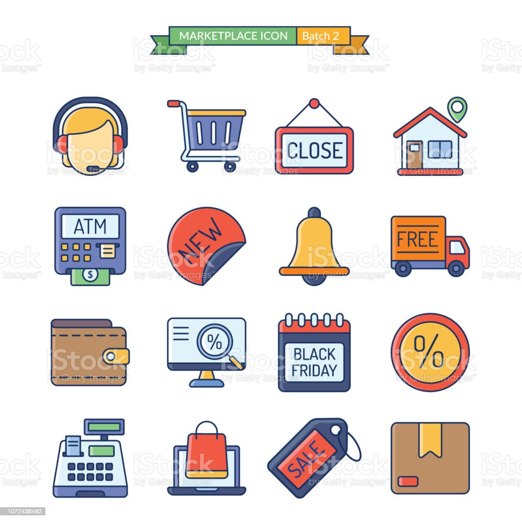 onlineshop icon batch 2 of 3 vector art illustration