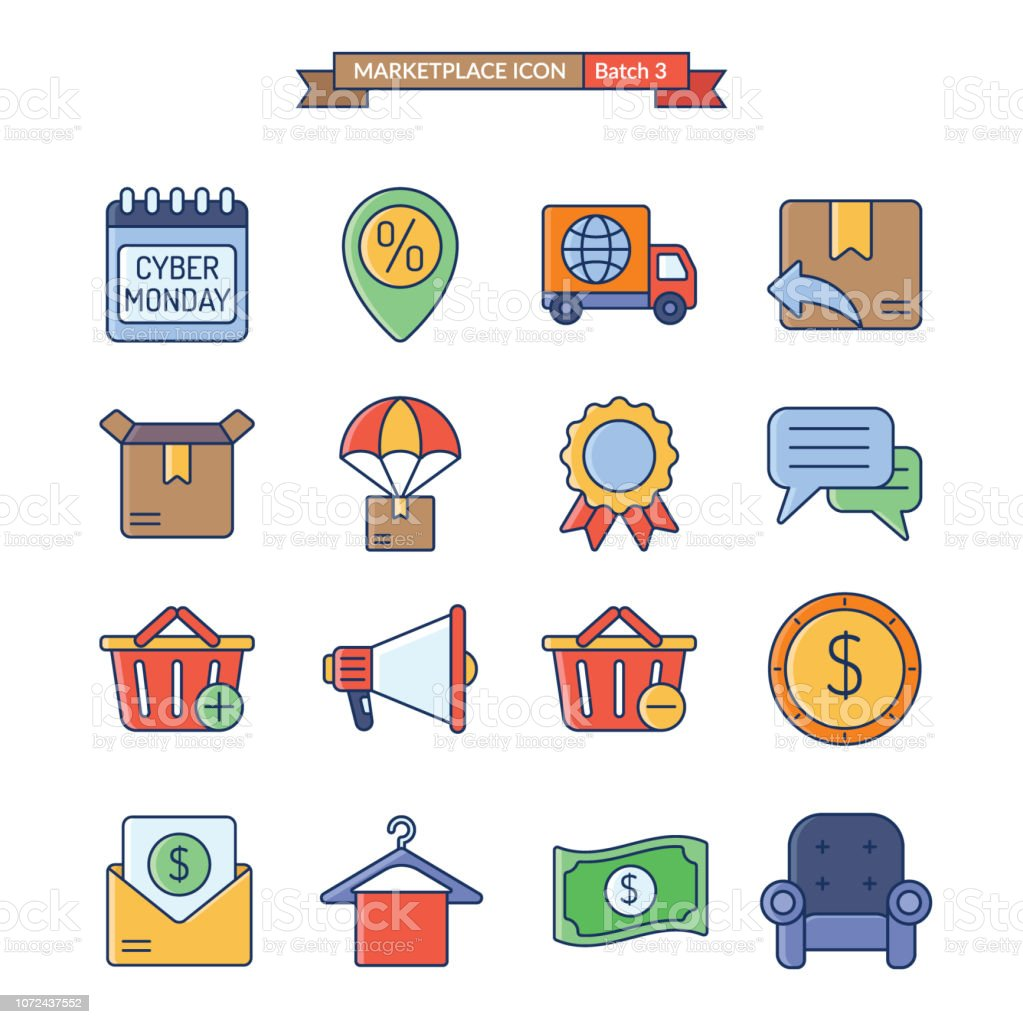onlineshop icon batch 3 of 3 vector art illustration