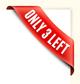 Only 3 Left Red Shopping Banner royalty free vector art
