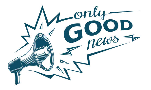 Only good news sign with megaphone decorative vector artwork good news stock illustrations