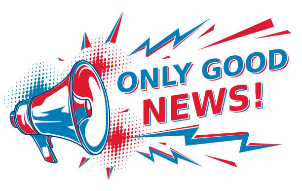 Only good news - sign with megaphone decorative vector artwork good news stock illustrations