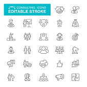 Business Consulting, Advice, Editable Stroke Icon Set