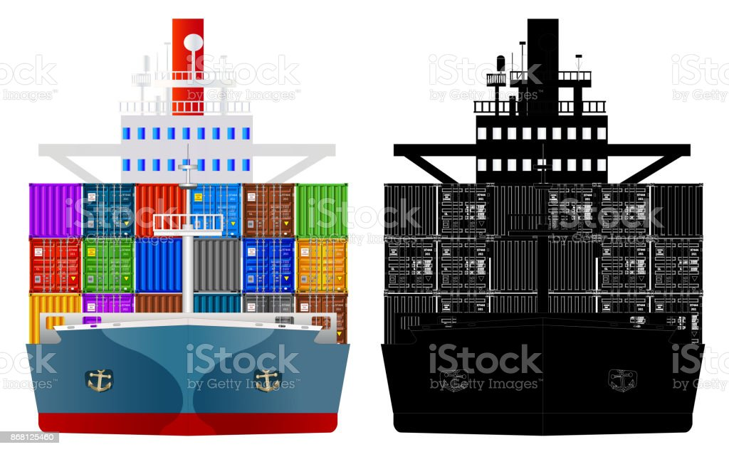 Сontainer ship, front view. Vector, isolated on white vector art illustration