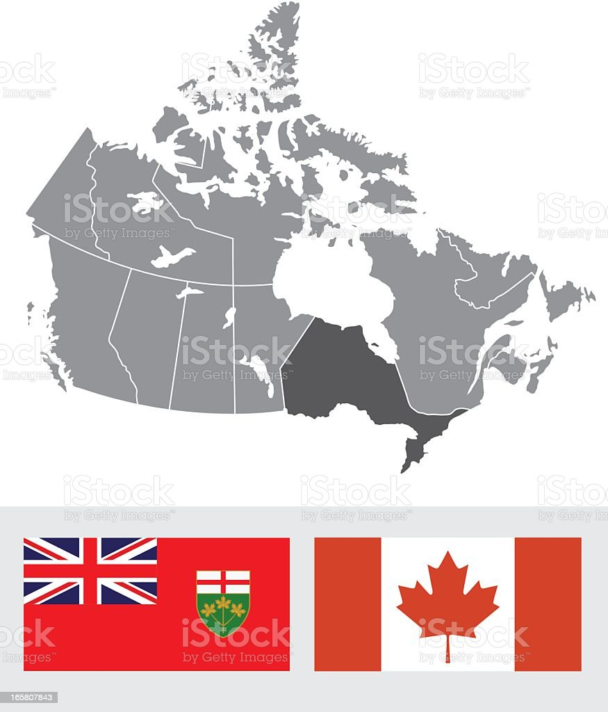 Ontario Canada Map And Flag Stock Vector Art IStock - Ontario canada map