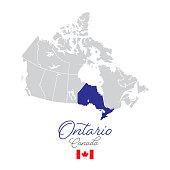 Ontario in Canada Vector Map Illustration