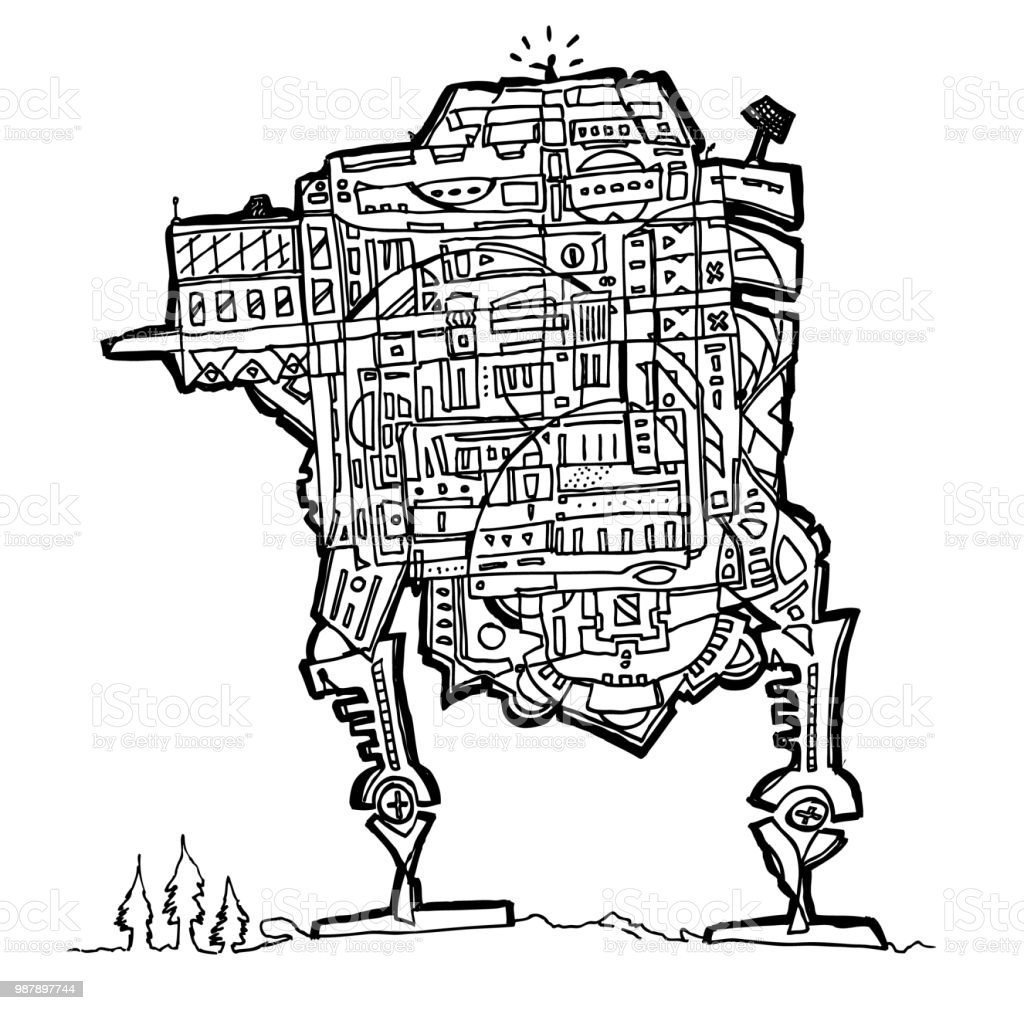 Onwards Robot Coloring Page Stock Vector Art More Images Of