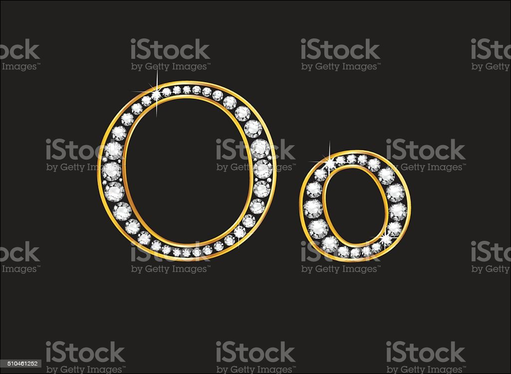 Oo Diamond Jeweled Font with Gold Channels vector art illustration