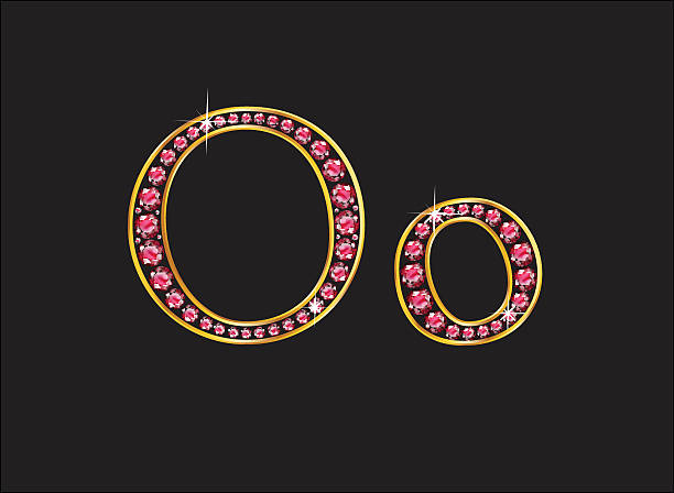 Oo Ruby Jeweled Font with Gold Channels vector art illustration