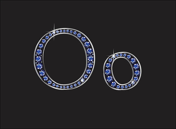 Oo Sapphire Jeweled Font with Silver Channels vector art illustration