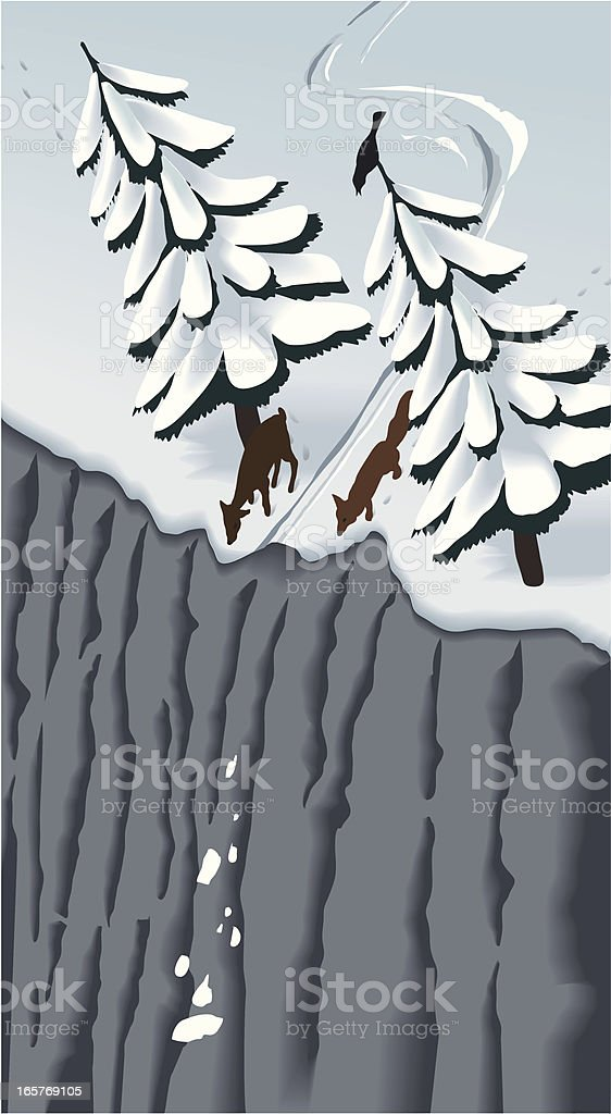 Ooops! - off piste has its pitfalls vector art illustration