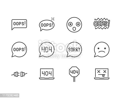 istock Oops message flat line icons set. 404 error, mistake speach bubble, page not found concept vector illustrations. Outline signs for something went wrong. Pixel perfect 64x64. Editable Strokes 1173282465